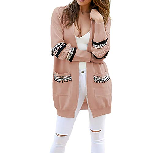 Strickjacke Damen Cardigan Frauen Langarm Gestrickt Cardigan Sweater Casual Herbst Mäntel Outwear Mode Winter L Rosa