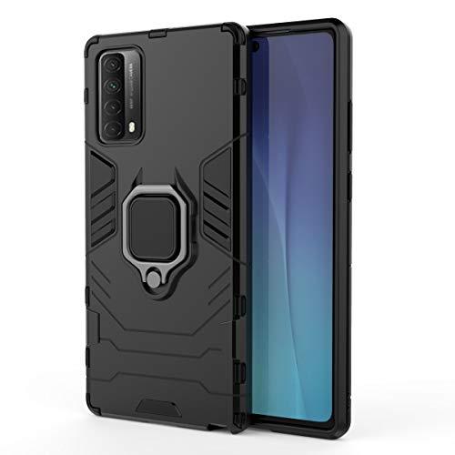 GOGME Funda para Huawei P Smart 2021, Shockproof Carcasa con 360 Grados Giratorio Anillo Kickstand [Soporte de Coche Magnético Compatible], Hard PC y Silicona TPU Tough Armor Case. Negro