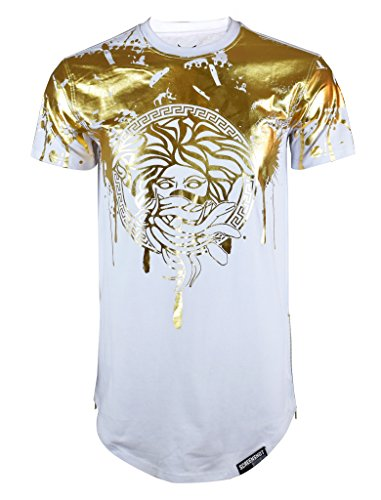 Screenshotbrand Mens Hipster Hip-Hop Premiun Tees - Stylish Longline Latest Fashion Print T-Shirts Gold Foil MD - White - Large