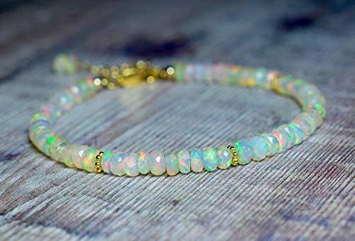 LOVE KUSH JEWELRY Ethiopian Opal Bracelet, Beaded Gemstone Bracelet, October Birthstone Bracelets for Women Gift