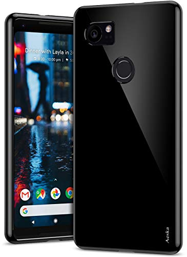Google Pixel 2 XL Case, Aeska Ultra [Slim Thin] Flexible Clear Soft TPU [Anti-Scratches] Gel Premium Rubber Transparent Skin Silicone Protective Case Cover for Google Pixel 2 XL (Black)