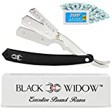 Barber Straight Razor, Professional Barber Straight Edge Razor - Barber Razor Compatible with Straight Razor Blade for Barber by Black Widow (1.5mm) (Chrome)