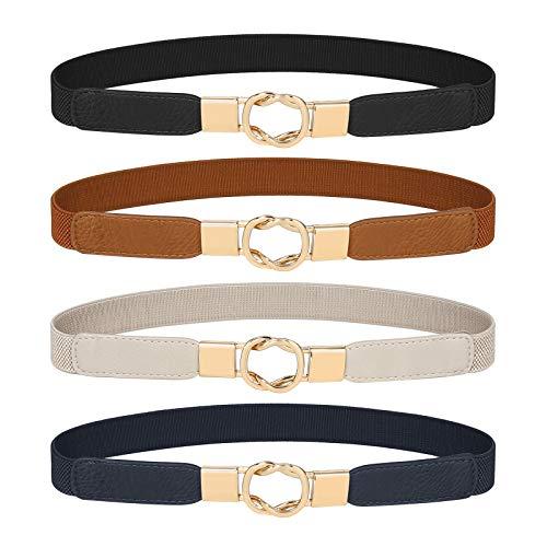 Women's Skinny Belt for Dresses Retro Stretch Chic Ladies Waist Belt Set of 4 Elastic Metal Buckle Belt for Jeans Dresses
