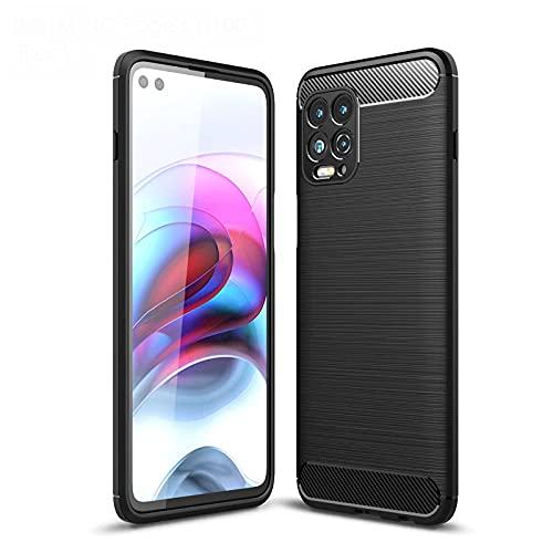 LEYAN Hülle für Motorola Edge S/Motorola Moto G100, Schutzhülle TPU Silikon Handyhülle mit Stylisch Karbon Design, Stoßfest Bumper Hülle Soft Flex Cover, Schwarz
