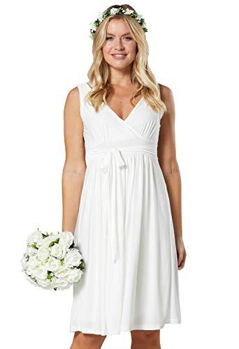 Chelsea Clark Mujer Vestido de Maternidad para Lactancia para la Novia Dama de Honor (Blanco, 2XL)