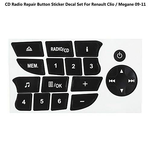 BAAQII Schwarzes CD Radio Repair Button Aufkleber für Renault Clio/Megane 09-11