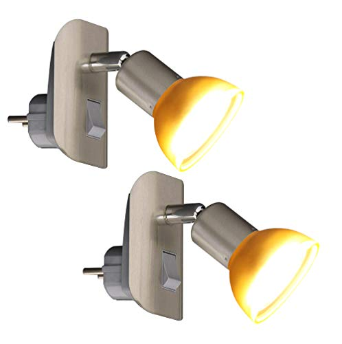 Trango Paquete de 2 LED Luz de enchufe nocturna TG11-242 en níquel mate con pantalla de cristal incl.1X GU10 3000K cada uno LED blanco cálido Iluminante y ON/OFF conmutador Lámpara de lectura