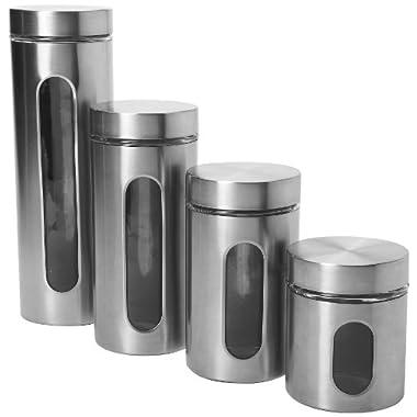 Anchor Hocking 4-Piece Palladian Brushed Stainless Steel Window Cylinder Set