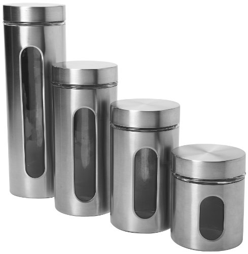 Anchor Hocking 97564 4-Piece Palladian Brushed Stainless Steel Window Cylinder Set, 4, Clear Glass