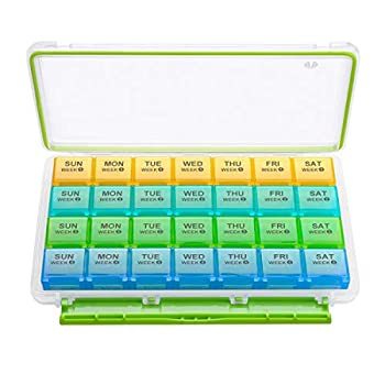 BUG HULL Monthly Pill Organizer 4 Weeks Moisture-Proof Pill Box for Travel 28 Day Pill Case Medicine Organizer for Vitamins Supplements and Fish Oil
