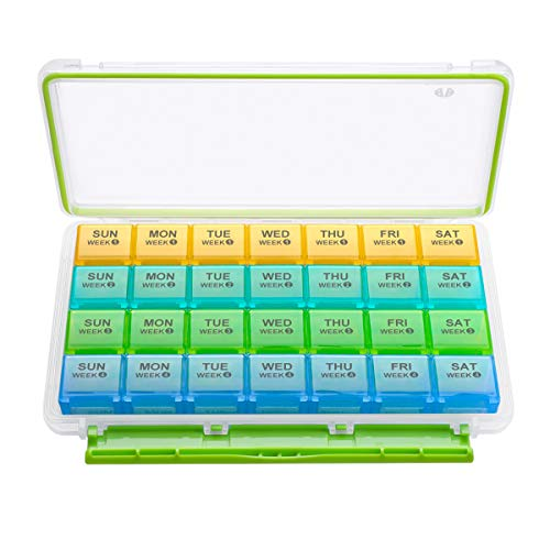 BUG HULL Monthly Pill Organizer, 4 Weeks Moisture-Proof Pill Box for Travel, 28 Day Pill Case, Medicine Organizer for Vitamins, Supplements and Fish Oil