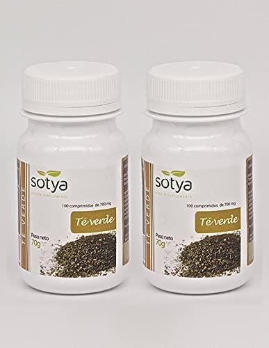 Sotya Té Verde 200 comprimidos (dos botes de 100 C/U) 500 Mg,  potente antioxidante, poder depurativo y desintoxicante, bueno para tu corazón, ayuda al control del peso, fortalece los huesos.