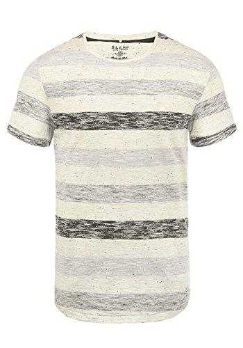 Blend Efkin Herren T-Shirt Kurzarm Shirt Mit Streifen Und Rundhalsausschnitt, Größe:L, Farbe:Steepl Grey (75121)