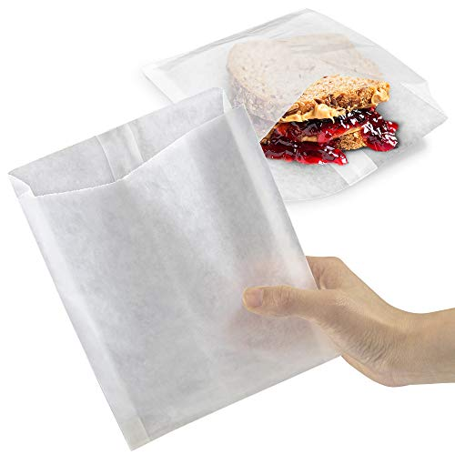 [200 Pack] Plain 7 x 6 x 1 Wet Wax Paper Sandwich Bags, Food Grade Grease Resistant, White Glassine Semi Translucent