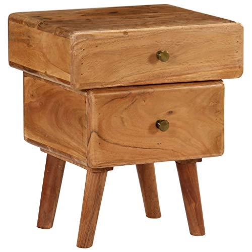 vidaXL Bois d'Acacia Massif Table de Chevet Meuble de Chambre Table de Nuit