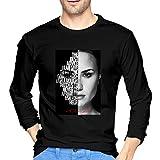 Liuerfeng Demi Lovato Long T-Shirt Men Soft Long Sleeve Printing T-Shirts Round Neck Tee Black