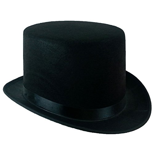 5 Inch Black Felt Top Hat - Gentleman's Felt 5 Inch Top Hat by Funny Party Hats, Avg Adult Head size