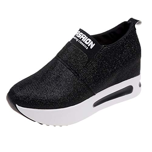Dorical Sportschuhe Sneaker Turnschuhe Laufschuhe mit Keilabsatz Bequeme Slip On Outdoorschuhe Fitnessschuhe Pumps Freizeit Leichte Sneakers 35-40(Schwarz,40 EU)