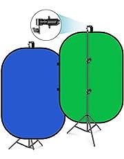 Neewer 5'x7' Chromakey Blauw-Groen Inklapbare Achtergrond met Ondersteuning Stand Kit: 2-in-1 Omkeerbare Achtergrond Pop-Up Groen Scherm Blauw Groen Paneel voor Fotostudio Videoopnamen, Live Streaming etc