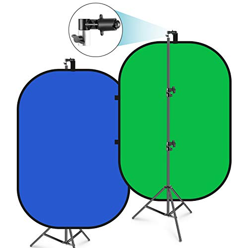 Neewer 5'x7' Chromakey Blue-Green Collapsible Backdrop with Support Stand Kit: