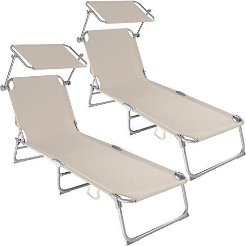 TecTake Chaise Longue Pliante Bain de Soleil avec Parasol Pare Soleil - diverses Couleurs et quantités au Choix - (2X Beige | No. 400691)