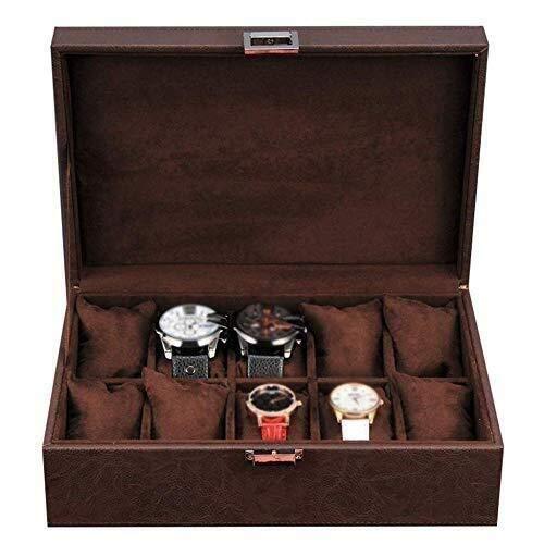 Manyao Reloj joyero de Cuero Caja de visualización Bandeja de Recogida de la Pulsera de la Hebilla de Metal 10 de Almacenamiento extraíble