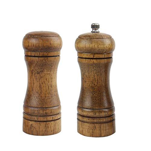 Juego de molinillos de pimienta y salero YeVhear de madera de 5,5 pulgadas con grosor ajustable para sentar la preparación de comidas