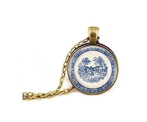 Elf House Plato de Porcelana Azul, Collar de Porcelana, Collar con Placa...