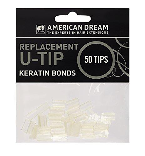 American Dream punte di ricambio cheratina per extension pre-legate, trasparenti, confezione da 50