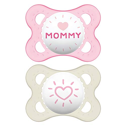 MAM I Love Mommy Collection Pacifiers (2 pack, 1 Sterilizing Pacifier Case), MAM Pacifier 0-6 Months, Baby Pacifiers, Baby Girl, Best Pacifier for Breastfed Babies, Designs May Vary