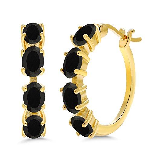 18K Yellow Gold Hoop Earrings Oval Gemstone Birthstone by Gem Stone King Store