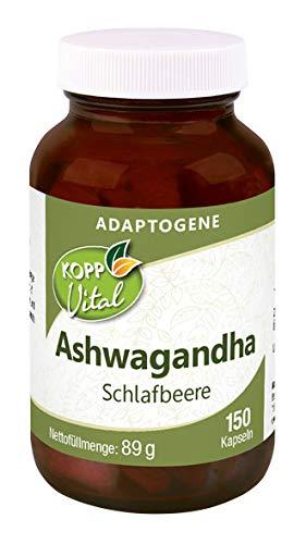 Kopp Vital Adaptogen Ashwagandha (Schlafbeere) Kapseln | 89 g | 150 Kapseln | Vegan | Die Elitepflanzen der Natur