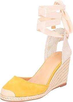 Cambridge Select Women s Retro 70s Closed Toe Crisscross Ankle Wrap Tie Espadrille Chunky Wedge Sandal,8 B M  US,Mustard IMSU
