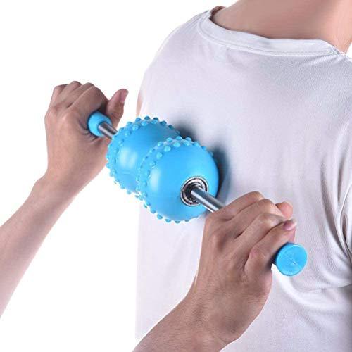 Muscle Roller Stick, Multifunktionaler Body Muscle Yoga Massage Roller Meridian Massage Stick - Massagegerät für Rücken-, Nacken-, Bein-, Fuß-, Arm-, Yoga-Übungen, Himmelblau