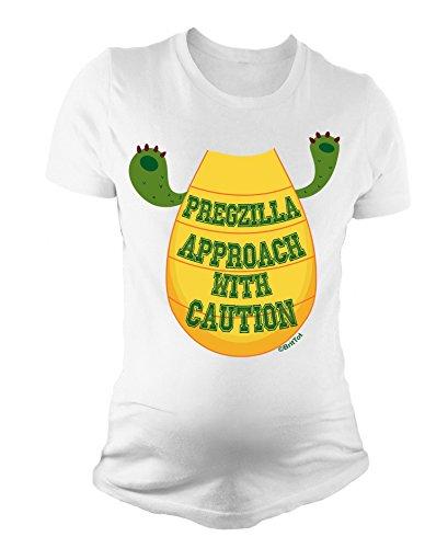 BritTot T-Shirt de maternité pour Dames Pregzilla Approach with Caution Funny bébé Cadeau de Grossesse by