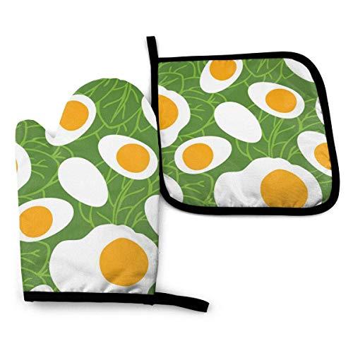 Ofenhandschuhe und Topflappen Lebensmittel Sammlung Eier mit Spinat Ofenhandschuhe und Topflappen Grillhandschuhe-Ofenhandschuhe und Topflappen Kochhandschuhe