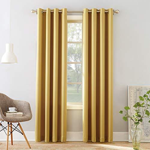"Sun Zero Barrow Energy Efficient Grommet Curtain Panel, 54"" x 95"", Flax Yellow"