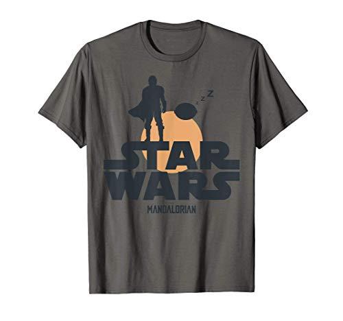 Star Wars The Mandalorian The Child Sunset Silhouette Logo Camiseta
