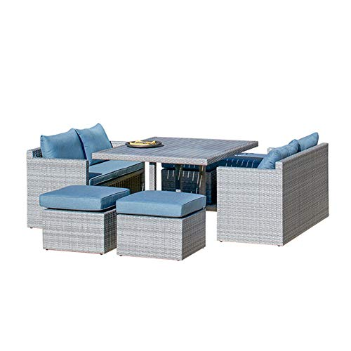Hmcozy Wicker 7 PCS Patio Furniture Dining set Garden Outdoor Patio Furniture Sets Rattan Outdoor Patio Cube Sets Mixed Gray Rattan & Cushions (7PC SETS)