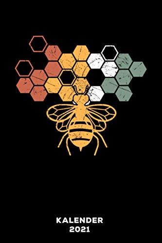 Biene Vintage: Kalender 2021 und Jahresplaner von Januar bis Dezember mit Ferien, Feiertagen und Monatsübersicht | Organizer, Taschenkalender und Organizer für 1 Jahr
