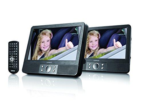 Lenco MES-405 - Reproductor de DVD portátil, 2 Pantallas de 9 Pulgadas, 2 Conexiones para Auriculares, Adaptador para Coche, Color Negro