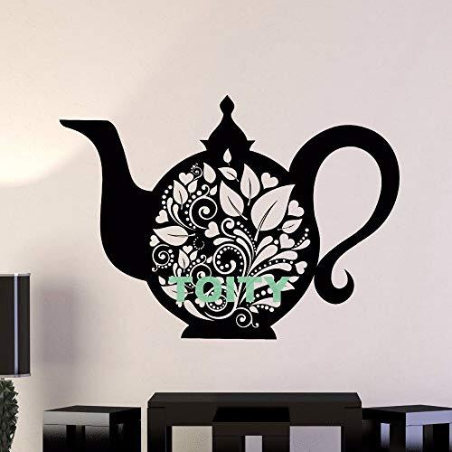 guijiumai Vinyl Wall Decal Wasserkocher Teekanne Tee Küche Dekor Geschirr Aufkleber Fenster Tür Zimmer Kunst Wandbilder74X105CM