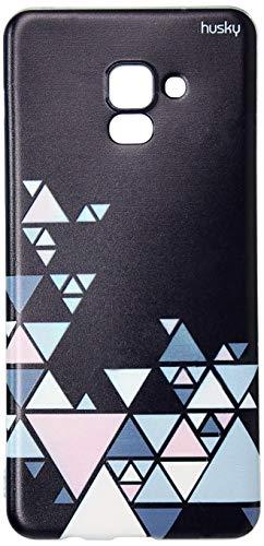 Capa Personalizada para Galaxy A8 Plus (2018) - Escandinava Preta Triangulos, Husky, Proteção Completa (Carcaça+Tela), Colorido