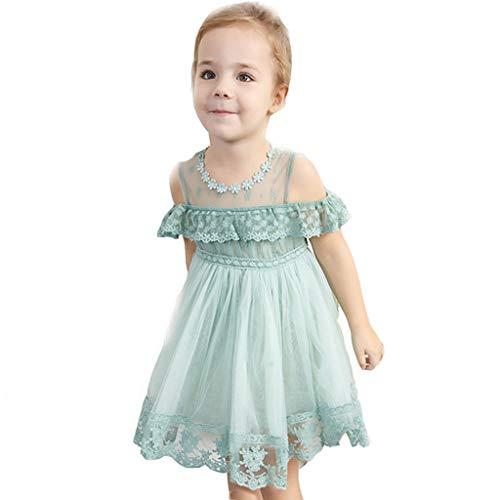 Ba Zha Hei Kidswear Bébé Filles Mousseline de Soie Robe de Fête d'anniversaire Cérémonie de Mariage Robe sans Manches Princess Robe(130/5Ans,M18-Menthe Verte)