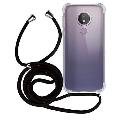 MyGadget Handykette für Motorola Moto G7 Power TPU Hülle mit Band - Handyhülle mit Handyband zum Umhängen Kordel Schnur Case Schutzhülle - Schwarz