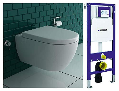 Spülrandloses Dusch-WC mit UP Armatur Anschluss an Kalt & Warmwasser mit Geberit Spülkasten UP320 Duofix 111300005 für Trockenbau inkl. abnehmbaren WC-Sitz mit sanft schließender Absenkautomatik