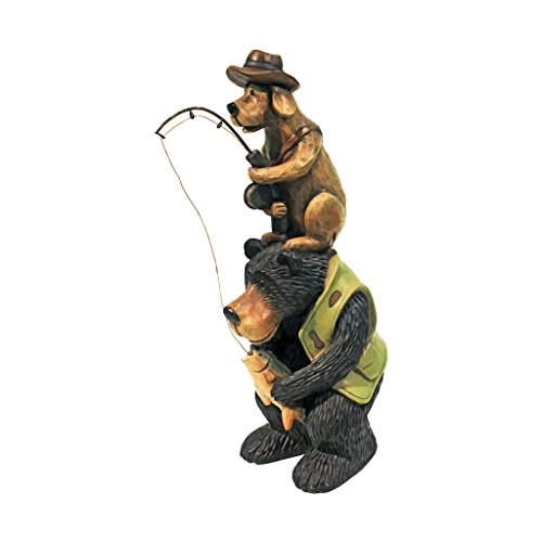 Design Toscano HF665394 Fishing Buddies Black Bear and Dog Statue,full color