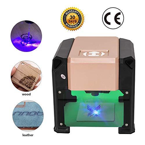 Grabadora Laser Madera, Mysweety Mini Engraver Fresadora 3000mw para Win XP / 7/8/10 / MAC, Área de trabajo 75mm * 75mm, Herramientas de grabado USB DIY