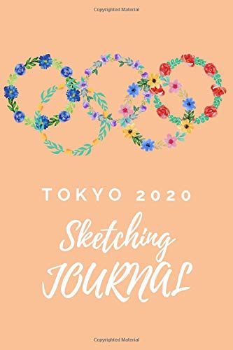 """5 colorful wreath flowers with TOKYO 2020 Journal and Sketchbook girl:Compositin size (110 Pages,Lined blank 6""""x9"""") wi"""