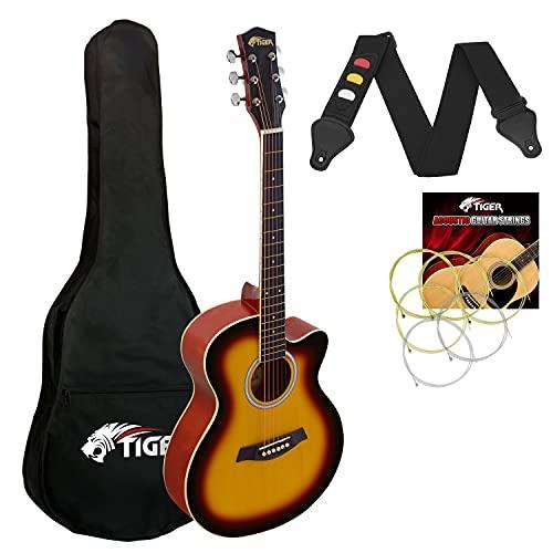 Tiger ACG1-SB34 Guitarra acústica de tamaño 3/4, guitarra acústica con cuerdas de acero para mayores de 9 años - Sunburst